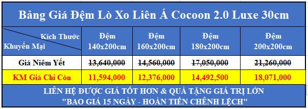bang gia dem lo xo lien a cocoon 2 0 luxe