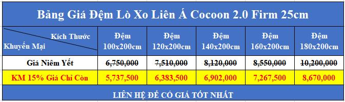 bảng giá đệm lò xo liên á cocoon 2 0 firm