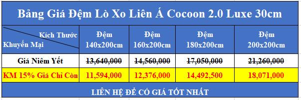 bảng giá đệm lò xo liên á cocoon 2 0 luxe