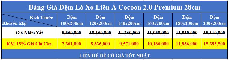 bảng giá đệm lò xo liên á cocoon 2 0 premium